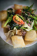 """Traditional vietnamese dish """"pho chien phong"""", a fried noodle based dish with beef and veggies . Hanoi, Vietnam, Southeast Asia"""