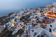 Small greek town with white houses in Santorini island