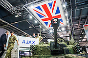 The General Dynamics stand includes the UK's next armoured vehicle the Ajax - The DSEI (Defence and Security Equipment International) exhibition at the Excel Centre, Docklands, London UK 15 Sept 2015
