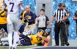 Sep 22, 2018; Morgantown, WV, USA; West Virginia Mountaineers wide receiver David Sills V (13) attempts to dive for a touchdown during the third quarter against the Kansas State Wildcats at Mountaineer Field at Milan Puskar Stadium. Mandatory Credit: Ben Queen-USA TODAY Sports