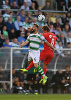 18 July 2019; Fredrik Haugen of SK Brann in action against Greg Bolger of Shamrock Rovers during the UEFA Europa League First Qualifying Round 2nd Leg match between Shamrock Rovers and SK Brann at Tallaght Stadium in Dublin. Photo by Seb Daly/Sportsfile