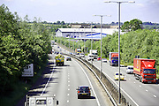 The A14 trunk road as it passes around the Northamptonshire town of Kettering.<br /> Taken form the Polwell Lane Road bridge looking back toward Junction 9