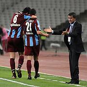 Trabzonspor's coach Senol GUNES (R) during their Turkish superleague soccer match Trabzonspor between Denizlispor at the Avni Aker Stadium in Trabzon Turkey on Monday, 10 May 2010. Photo by TURKPIX