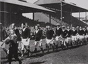 The teams parade before the 1931 All-Ireland final.