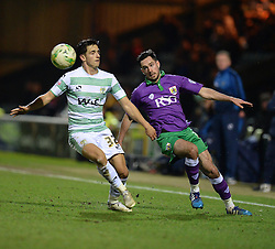 Bristol City's Greg Cunningham flicks the ball past Yeovil Town's Liam Shepard - Photo mandatory by-line: Alex James/JMP - Mobile: 07966 386802 - 10/03/2015 - SPORT - Football - Yeovil - Huish Park - Yeovil Town v Bristol City - Sky Bet League One