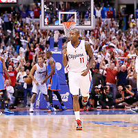 11 May 2014: Los Angeles Clippers guard Jamal Crawford (11) celebrates during the Los Angeles Clippers 101-99 victory over the Oklahoma City Thunder, during Game Four of the Western Conference Semifinals of the NBA Playoffs, at the Staples Center, Los Angeles, California, USA.