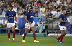 Romain NTAMACK, France's Yoann Huget, Antoine DUPONT in action during 2019 Rugby World Cup warm-up match France v Italy at Stade De France on August 30, 2019 in Paris, France. France won 47-19. Photo by Loic Baratoux/ABACAPRESS.COM