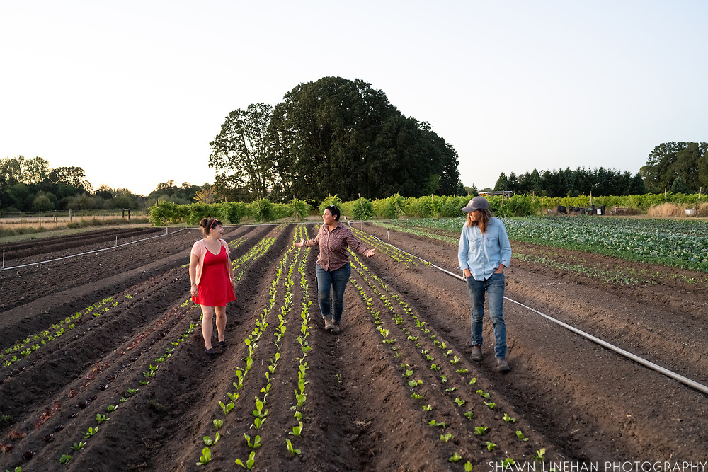 Lane Selman with Adrianna and Jolene of Flying Onion Farm