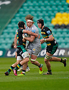 Sale Sharks No.8 Dan Du Preez is held by Northampton Saints centre Piers Francis during a Gallagher Premiership Round 13 Rugby Union match, Saturday, Mar. 13, 2021, in Northampton, United Kingdom. (Steve Flynn/Image of Sport)