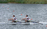 Eton Dorney, United Kingdom, GBR LM2X, Bow Richard and Peter CHAMBERS, qualify for Sunday's final of the lightweight men's double Sculls.  Eton Rowing Centre. FISA World Cup II, Dorney Lake. Saturday  22/06/2013 Berkshire.  [Mandatory Credit Peter Spurrier/ Intersport Images]