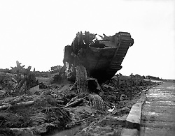 File photo dated 25/9/2017 of the wreckage of a British tank beside the infamous Menin Road near Ypres, Belgium. Theresa May, the Prince of Wales and the Duke and Duchess of Cornwall will join the descendants of soldiers who fought at the Battle of Passchendaele at events in Belgium on Sunday and Monday to mark 100 years since the start of one of the bloodiest campaigns of the war.