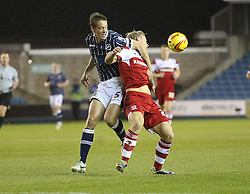 Millwall's Paul Robinson and Middlesbrough's Curtis Main clash - Photo mandatory by-line: Robin White/JMP - Tel: Mobile: 07966 386802 21/12/2013 - SPORT - FOOTBALL - The Den - Millwall - Millwall v Middlesbrough - Sky Bet Championship