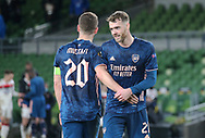 Shkodran Mustafi and Calum Chambers after the game of Arsenal during the Europa League Group B match between Dundalk and Arsenal at Aviva Stadium, Dublin, Republic of Ireland on 10 December 2020.