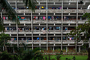 Washing hangs out along the walkway at a students halls of residence building in the University of Dhaka on the 29th of September 2018 in Dhaka, Bangladesh. (photo by Andrew Aitchison / In pictures via Getty Images)