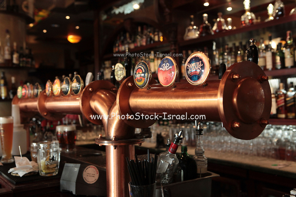 Interior of an Irish style pub draught beer taps