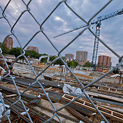 Construction work of the 51 Main residential project at intersection of 51st & Main Streets, Kansas City, MO.