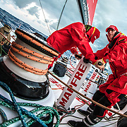 Leg 02, Lisbon to Cape Town, day 04, on board MAPFRE, Xabi Fernandez y Tamara Echegoyen en un pedestal trimando velas. Photo by Ugo Fonolla/Volvo Ocean Race. 08 November, 2017. Photo by Ugo Fonolla/Volvo Ocean Race. 08 November, 2017
