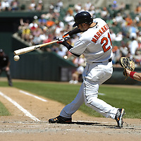 01 July 2007:  Baltimore Orioles right fielder Nick Markakis (21) in action against the Los Angeles Angels.  The Angels defeated the Orioles 4-3 at Camden Yards in Baltimore, MD.   ****For Editorial Use Only****