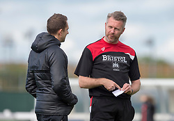 Willie Kirk manager of Bristol City Women chats with Liverpool Ladies manager Scott Rogers - Mandatory by-line: Paul Knight/JMP - 20/05/2017 - FOOTBALL - Stoke Gifford Stadium - Bristol, England - Bristol City Women v Liverpool Ladies - FA Women's Super League Spring Series