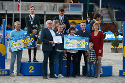 Podium 7 years of age, Arroyave Dayro, COL, Devos Pieter, BEL, Serrano Saenz Iven, ESP<br /> FEI WBFSH World Breeding Championship <br /> 5 years of age - Lanaken 2017<br /> © Hippo Foto - Dirk Caremans<br /> 24/09/2017