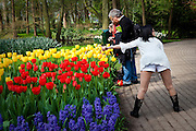 Chinese woman posing for a photograph at the Keukenhof tulip and flower show in Lisse, Holland - Netherlands. Editorial Use only.