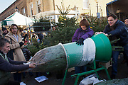 In December the market is full of Christmas tree stalls . Here a tree is pushed through a metal tool on legs to wrap the tree. Columbia Road flower market is held every Sunday and it attracts shoppers from afar. The huge variety in plants and flowers makes it a popular place to shop and the banter between the traders and the quick deals there is to be made makes it a very entertaining place to go.