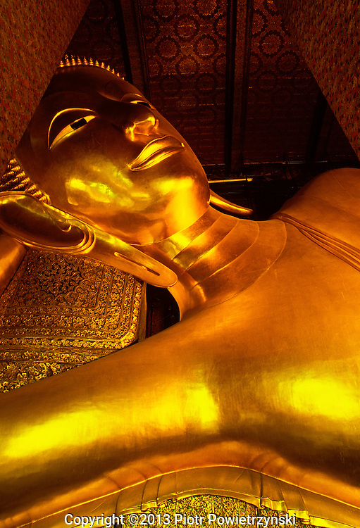 Reclining Buddha at Wat Po temple one of the seven wonders of the Buddhist world.