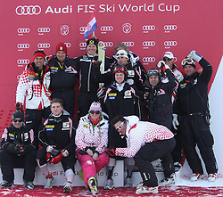 21.01.2011, Hahnenkamm, Kitzbuehel, AUT, FIS World Cup Ski Alpin, Men, Super G, im Bild Ivica Kostelic (CRO)  and the Croation ski team at the flower ceremony for the 2011 Hahnenkamm Super Giant Slalom race (Super G)part of  Audi FIS World Cup races in Kitzbuhel Austria. The race was won by Ivica Kostelic (CRO). EXPA Pictures © 2011, PhotoCredit: EXPA/ M. Gunn