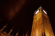 St. Stephen's Tower commonly called Big Ben illuminted at night. Westminster, London, United Kingdom. Friday December 30th 2011