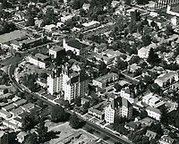 1948 Aerial photo of Granville Towers on Crescent Heights Blvd., just south of Sunset Blvd.