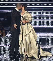 Drake presents Rihanna with the Michael Jackson Vanguard Award at the MTV Video Music Awards 2016, Madison Square Garden, New York City. Photo credit should read: Doug Peters/EMPICS Entertainment