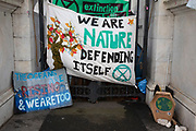 Extinction Rebellion at the Marble Arch camp in protest that the government is not doing enough to avoid catastrophic climate change and to demand the government take radical action to save the planet, on 24th April 2019 in London, England, United Kingdom. Extinction Rebellion is a climate change group started in 2018 and has gained a huge following of people committed to peaceful protests.