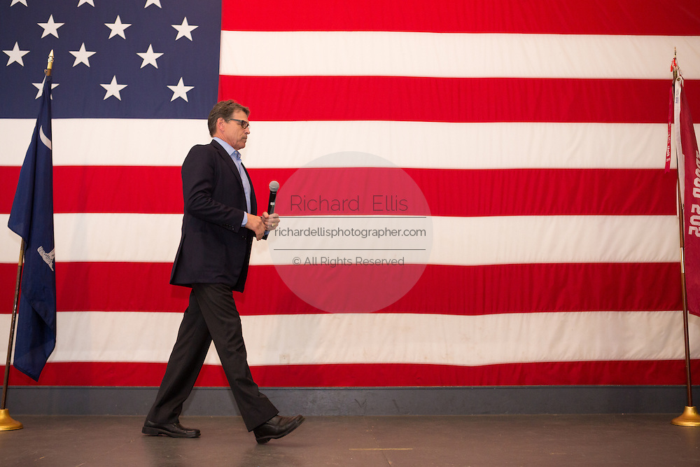 Former Texas Governor and GOP presidential hopeful Rick Perry during a town hall event aboard the USS Yorktown in Mount Pleasant, South Carolina.