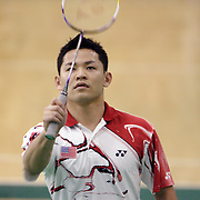 ORANGE, CA, January 3, 2008: Top badminton players, including past Olympic gold medalists, train at the Orange County Badminton Club in Orange, California. Howard Bach is a sure bet to make the US Olympic team.