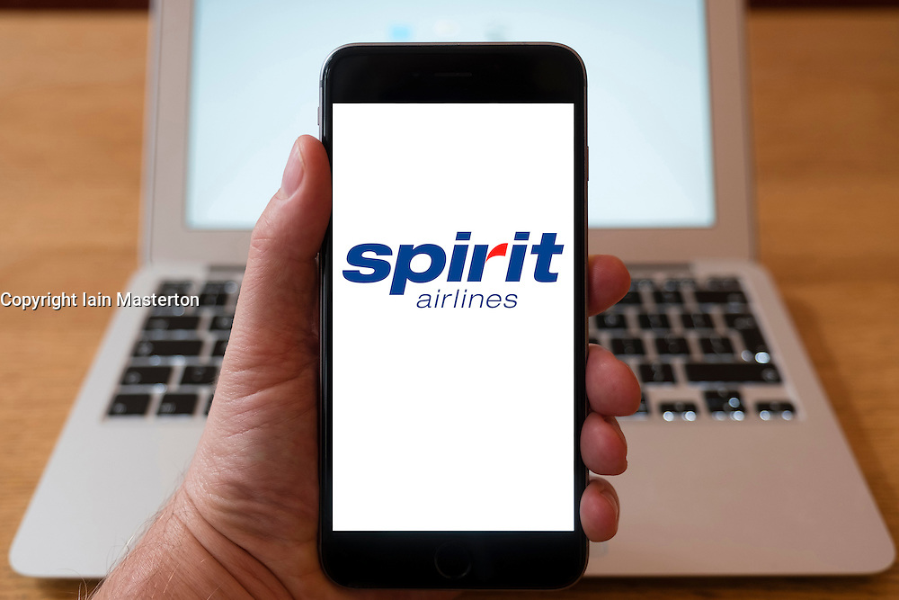 Using iPhone smartphone to display logo of Spirit Airlines
