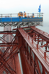 Bwani Junction, the Edinburgh based band, made music history by becoming the first group to play on the Forth Rail Bridge, they played on the highest point of the 122-year-old structure..©Michael Schofield.