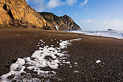 Sea foam lies in a line along Wildcat Beach, Point Reyes National Seashore, California. Alamere Falls, a waterfall that comes right down to the beach, is visible in the distance.