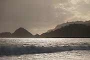 View of hills across the sea, Red Island Beach, Red Island, Banyuwangi Regency, East Java, Indonesia, Southeast Asia