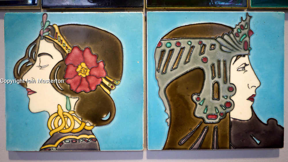 Ceramic tiles on display at  Museum für Kunst und Kulturgeschichte or Museum of Art and Cultural History in Dortmund Germany