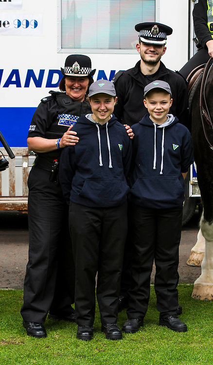 Pictured Superintendent Lesley Clark with Scottish Police youth volunteers Colette Thomson (16) and Ben O'Toole (15)  and special constable Michael Carde<br /> <br /> Superintendent Lesley Clark and collagues gathered at  at the police base for the Operation Summer City 2016 campaign, Venue 999<br /> <br /> (c) Ger Harley | Edinburgh Elite media