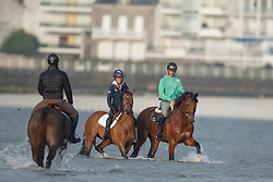 Guerdat Steve, (SUI), Corbinian, Verlooy Jos, (BEL), Caracas and Hough Lauren, Ohlala, (USA) relaxing at the beach<br /> Furusiyya FEI Nations Cup presented by Longines <br /> La Baule 2016<br /> © Hippo Foto - Dirk Caremans<br /> 14/05/16