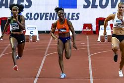 July 20, 2018 - Monaco, France - 100 metres femme - Elaine Thompson (Jamaique) - Marie Josee Ta Lou (Cote d Ivoire) - Dafne Schippers  (Credit Image: © Panoramic via ZUMA Press)
