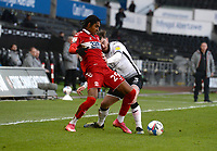 Middlesbrough's Djed Spence battles with Swansea City's Ryan Manning<br /> <br /> Photographer Ian Cook/CameraSport<br /> <br /> The EFL Sky Bet Championship - Swansea City v Middlesbrough - Saturday 6th March 2021 - Liberty Stadium - Swansea<br /> <br /> World Copyright © 2021 CameraSport. All rights reserved. 43 Linden Ave. Countesthorpe. Leicester. England. LE8 5PG - Tel: +44 (0) 116 277 4147 - admin@camerasport.com - www.camerasport.com