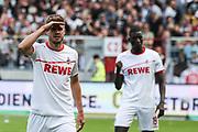 FUSSBALL: 2. Bundesliga, FC St. Pauli . 1. FC Koeln 3:5 Hamburg, 02.09.2018<br /> Jubel von Torschuetze Simon Terodde (Koeln)<br /> © Torsten Helmke