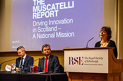 Pictured: Professor Sir Anton Muscatelli,  Finance Secretary Derek Mackay and Dame Anne Glover, President Royal Society of Edinburgh<br /><br /><br />Professor Sir Anton Muscatelli was joined by Finance Secretary Derek Mackay as he launched his report on how Scotland's higher education sector can maximise its impact on economic growth. Commissioned by Mr Mackay, the report will make recommendations for the sector, industry, the Scottish Government and its agencies<br /><br /> Ger Harley   EEm 27 November 2019