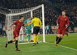 December 5, 2017 - Rome, Italy - Diego Perotti kicks goal 1-0 during the Champions League football match A.S. Roma vs  Qarabag at the Olympic Stadium in Rome, on december 05, 2017. (Credit Image: © Silvia Lore/NurPhoto via ZUMA Press)