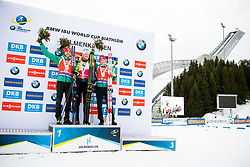 March 24, 2019 - Oslo, NORWAY - 190324 Arnd Peiffer of Germany, Johannes Thingnes Bø of Norway and Benedikt Doll of Germany celebrate on the podium after the men's 15 km mass start during the IBU World Cup on March 24, 2019 in Oslo..Photo: Jon Olav Nesvold / BILDBYRÃ…N / kod JE / 160428 (Credit Image: © Jon Olav Nesvold/Bildbyran via ZUMA Press)