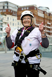 Jeannine Brett, 85, after abseiling from the British Airways i360 in Brighton during the iDrop charity abseil to raise money for Rockinghorse, the fundraising arm of the Royal Alexandra ChildrenÕs Hospital.