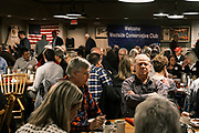 26 MARCH 2021 - URBANDALE, IOWA: People wait to hear Mike Pompeo. Pompeo, who served as the Director of the CIA and Secretary of State in the Trump Administration, spoke to about 200 people during the Westside Conservative Club meeting at the Machine Shed Restaurant in Urbandale, IA, Friday morning. Pompeo, who is often mentioned as a possible Republican presidential candidate in 2024, did not talk any plans to run for President, spending most of the time talking about what he thought were the foreign policy accomplishment of the Trump Administration and encouraging Republicans to tighten voting rules.     PHOTO BY JACK KURTZ