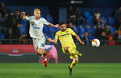 March 14, 2019 - Vila-Real, Castellon, Spain - Jaume Costa of Villarreal CF and Igor Smolnikov of Zenit Saint Petersburg during the Uefa Europa League round of 16 second leg match between Villarreal and Zenit Saint Petersburg at Estadio de la Ceramica on March 14, 2019 in Vila-real Spain. (Credit Image: © AFP7 via ZUMA Wire)